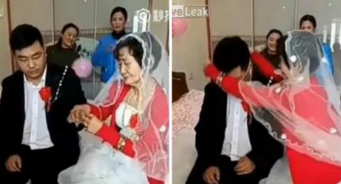 عجوز صينية ثرية تُقدّم خاتم الزواج لشاب