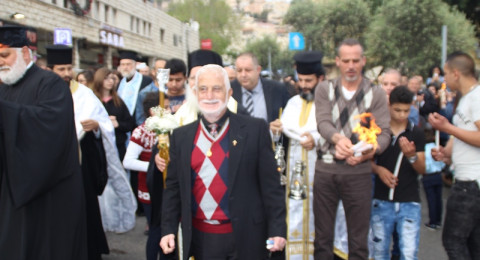 مسيرة كشفية ضخمة في الناصرة احتفالا بسبت النور وقدوم الفصح المجيد