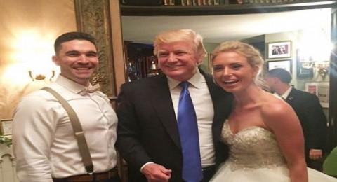 """ترامب"""" يقتحم حفل زفاف ويلتقط """"سيلفي"""" مع العروسين والمدعوين"""