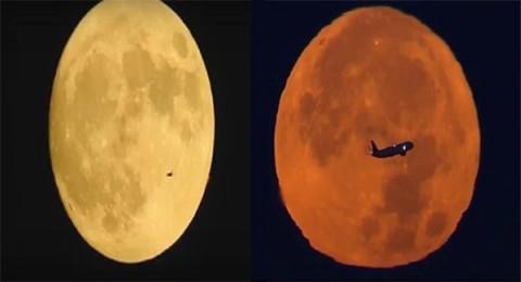 مشاهد مذهلة لطائرات تخترق القمر العملاق