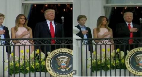 حركة خفية لـ ميلانا على يد ترامب لتذكيره برفع يده اثناء رفع العلم