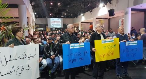 مئات عاملي الرافعات يشاركون في الاضراب الانذاري يوم الخميس وفي اجتماع احتجاجي في تل ابيب