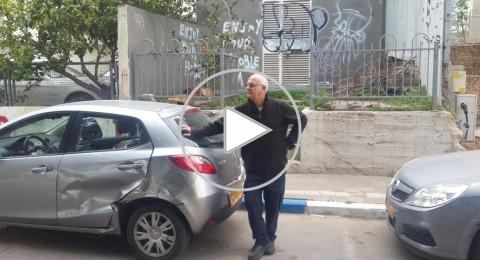شاهدوا: شاحنة تدخل حي ضيّق في تل أبيب، تخرّب كل السيارات وتهرب