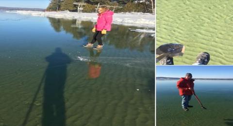 رجل يمشي على الماء إثر ظاهرة طبيعية نادرة